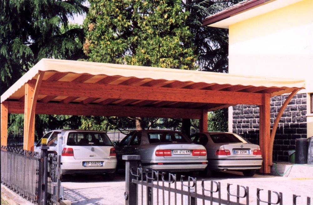 Tettoie per giardino in legno lamellare for Tettoie per auto usate
