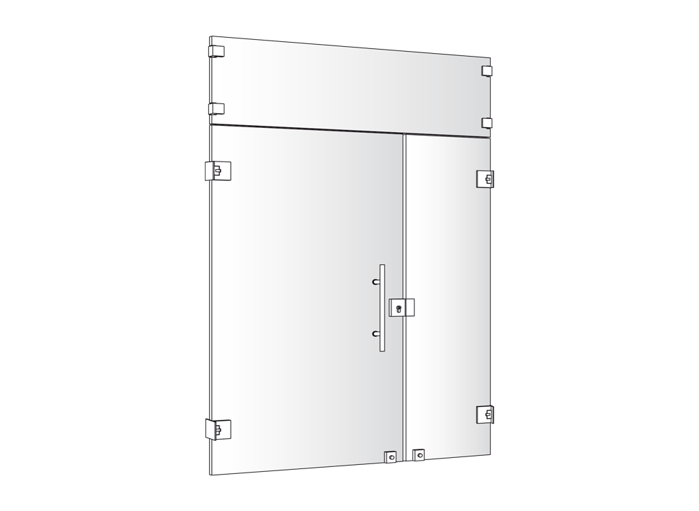 Disegno tecnico serramento door glass