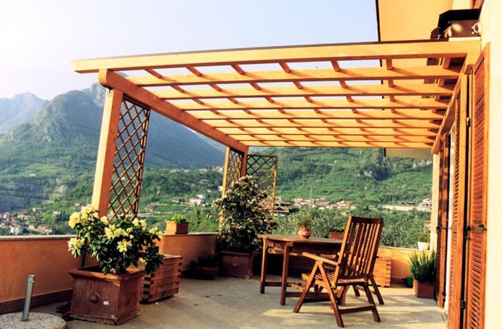 Gazebo in legno lamellare da giardino tendasol